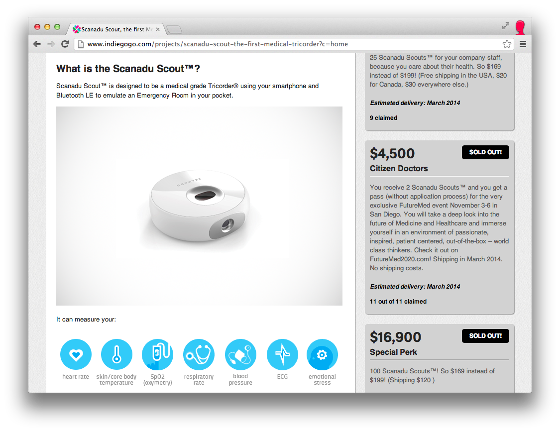 Scanadu Scout Gadget From The Future